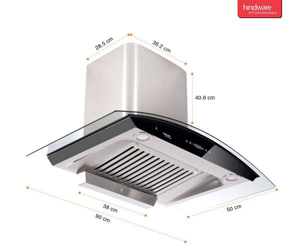 Best Kitchen Chimneys in India  - Hindware 90cm 1200 m3/hr Auto Clean Chimney
