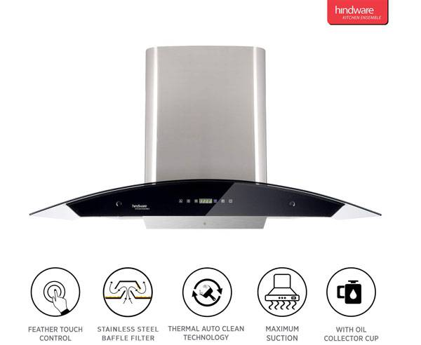 Hindware 90cm 1200 m3/hr Auto Clean Chimney