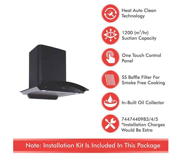 - Elica 60cm 1200m3/hr Auto Clean Chimney